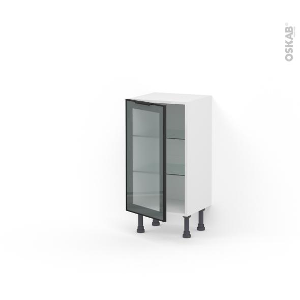 Meuble de cuisine - Bas vitré - Façade noire alu - 1 porte - L40 x H70 x P37 cm - SOKLEO