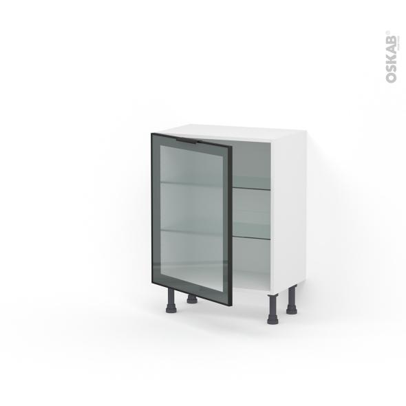 Meuble de cuisine - Bas vitré - Façade noire alu - 1 porte - L60 x H70 x P37 cm - SOKLEO