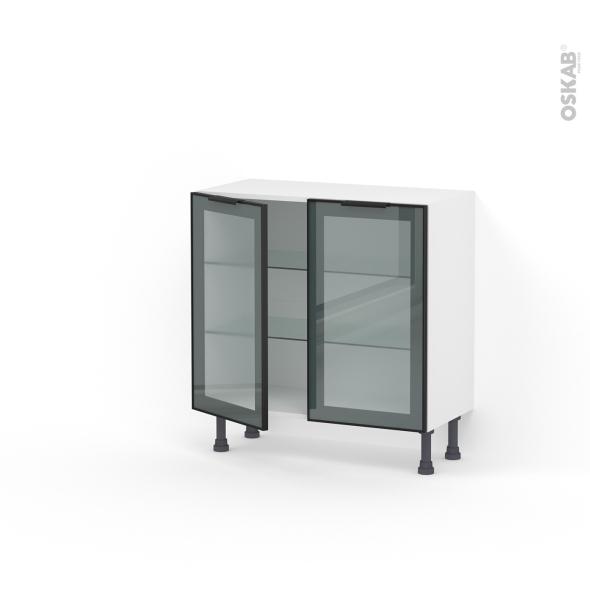 Meuble de cuisine - Bas vitré - Façade noire alu - 2 portes - L80 x H70 x P37 cm - SOKLEO
