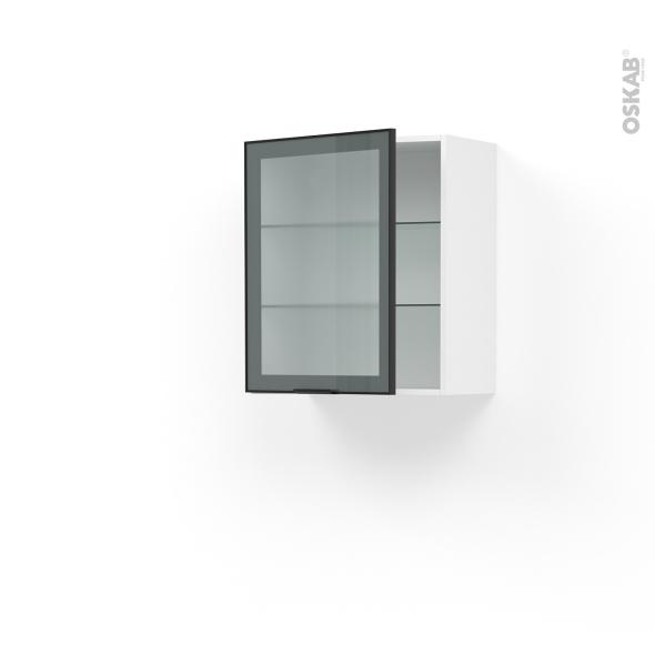 Meuble de cuisine - Haut ouvrant vitré - Façade noire alu - 1 porte - L60 x H70 x P37 cm - SOKLEO