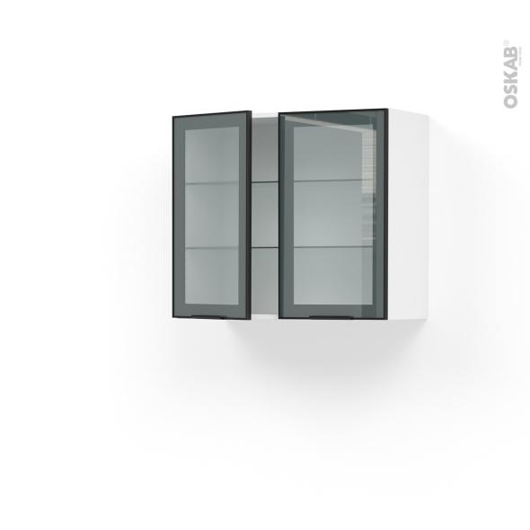 Meuble de cuisine Haut ouvrant vitré Façade noire alu 2 portes L80 x H70 x  P37 cm SOKLEO - Oskab