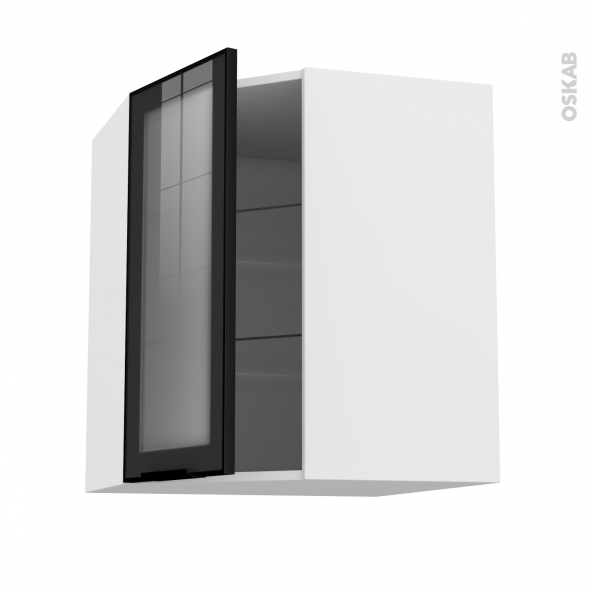 Meuble de cuisine - Angle haut vitré - Façade noire alu - 1 porte N°19 L40 cm - L65 x H70 x P37 cm - SOKLEO
