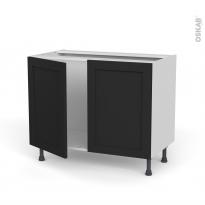 Meuble de cuisine - Sous évier - AVARA Frêne Noir - 2 portes - L100 x H70 x P58 cm