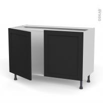 Meuble de cuisine - Sous évier - AVARA Frêne Noir - 2 portes - L120 x H70 x P58 cm