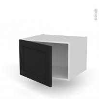 Meuble de cuisine - Bas suspendu - AVARA Frêne Noir - 1 porte - L60 x H41 x P58 cm