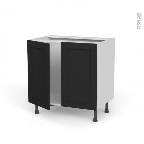Meuble de cuisine - Sous évier - AVARA Frêne Noir - 2 portes - L80 x H70 x P58 cm
