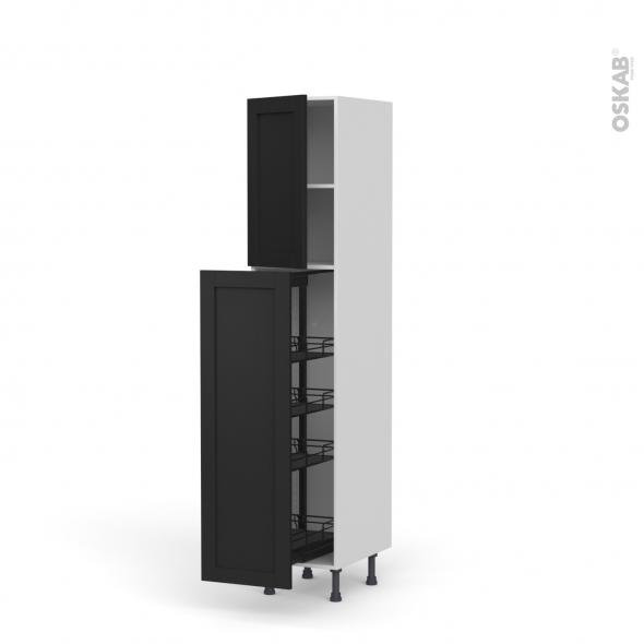 Colonne de cuisine N°26 - Armoire de rangement - AVARA Frêne Noir - 4 paniers plateaux - L40 x H195 x P58 cm