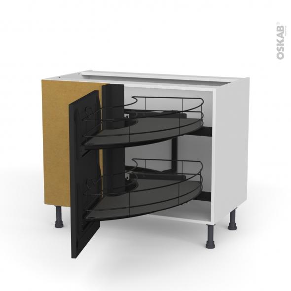 Meuble de cuisine - Angle bas - AVARA Frêne Noir - Demi lune coulissant EPOXY - Tirant droit 1 porte L50 cm - L100 x H70 x P58 cm