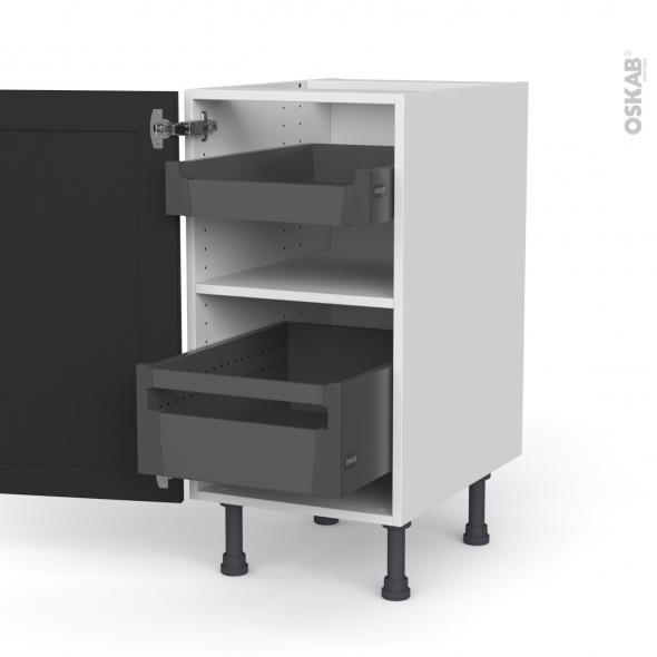 Meuble de cuisine - Bas - AVARA Frêne Noir - 2 tiroirs à l'anglaise - L40 x H70 x P58 cm