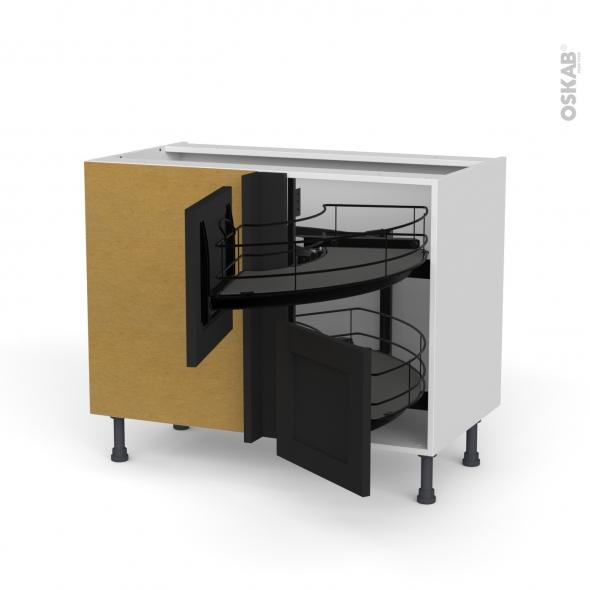 Meuble de cuisine - Angle bas - AVARA Frêne Noir - Demi lune coulissant EPOXY - Tirant droit 2 tiroirs L40 cm  - L80 x H70 x P58 cm