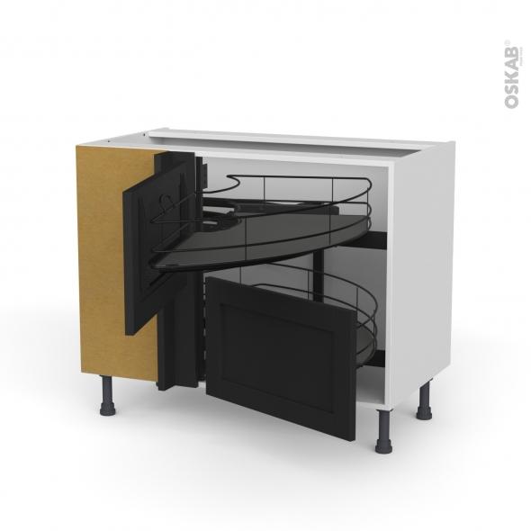 Meuble de cuisine - Angle bas - AVARA Frêne Noir - Demi lune coulissant EPOXY- Tirant droit 2 tiroirs L60 cm  - L100 x H70 x P58 cm