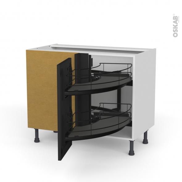 Meuble de cuisine - Angle bas - AVARA Frêne Noir - Demi lune coulissant EPOXY - Tirant droit 1 porte L40 cm - L80 x H70 x P58 cm