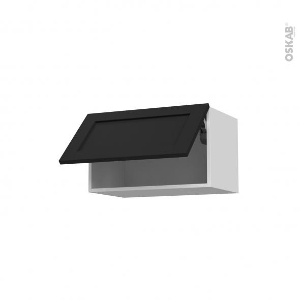 Meuble de cuisine - Sur hotte - Pour hotte encastrable - Haut abattant - AVARA Frêne Noir- 1 porte - L60 x H35 x P37 cm