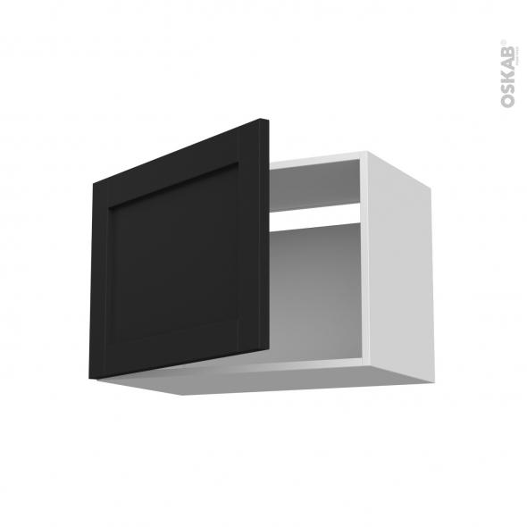 Meuble de cuisine - Sur hotte - Pour hotte encastrable - Haut ouvrant - AVARA Frêne Noir - 1 porte - L60 x H41 x P37 cm