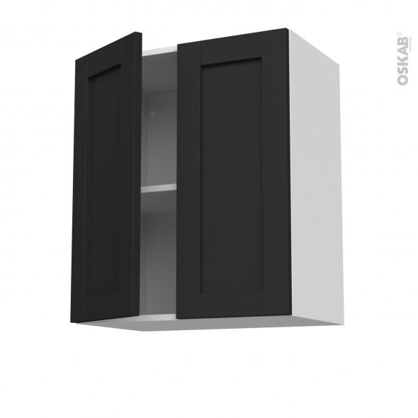 Meuble de cuisine - Sur hotte - Pour hotte encastrable - Haut ouvrant - AVARA Frêne Noir - 2 portes - L60 x H70 x P37 cm