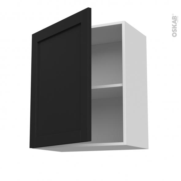 Meuble de cuisine - Sur hotte - Pour hotte encastrable - Haut ouvrant - AVARA Frêne Noir - 1 porte - L60 x H70 x P37 cm