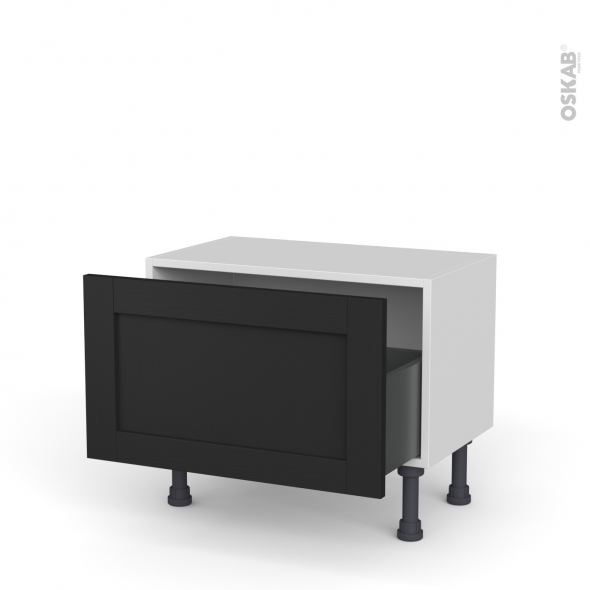 Meuble de cuisine - Bas - AVARA Frêne Noir - 1 casserolier - L60 x H35 x P37 cm