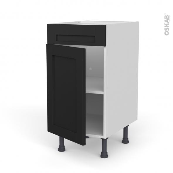 Meuble de cuisine - Bas - Faux tiroir haut - AVARA Frêne Noir - 1 porte  - L40 x H70 x P58 cm