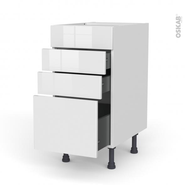 Meuble de cuisine - Casserolier - Faux tiroir haut - BORA Blanc - 3 tiroirs - L40 x H70 x P58 cm