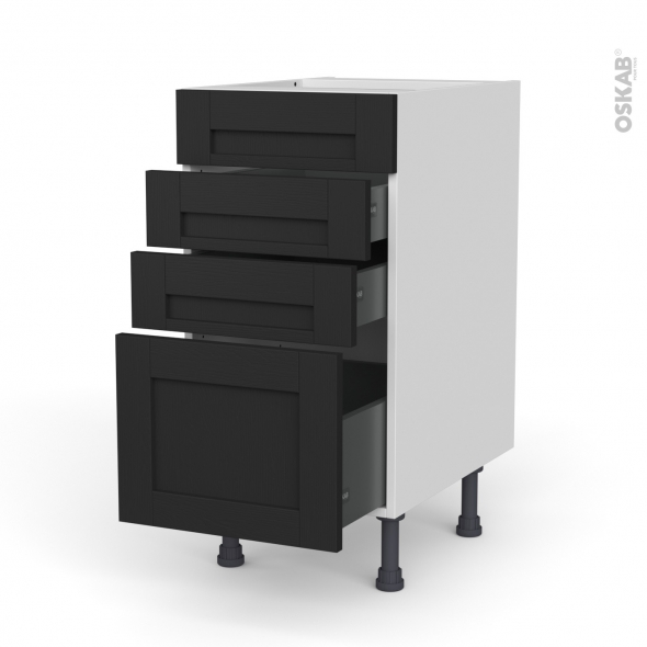 Meuble de cuisine - Casserolier - Faux tiroir haut - AVARA Frêne Noir - 3 tiroirs - L40 x H70 x P58 cm