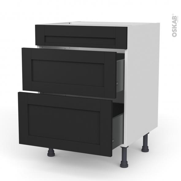 Meuble de cuisine - Casserolier - Faux tiroir haut - AVARA Frêne Noir - 2 tiroirs - L60 x H70 x P58 cm