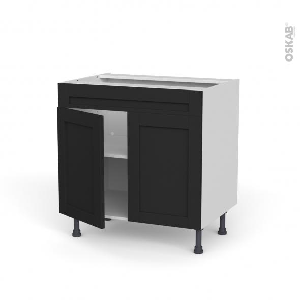 Meuble de cuisine - Bas - Faux tiroir haut - AVARA Frêne Noir - 2 portes - L80 x H70 x P58 cm