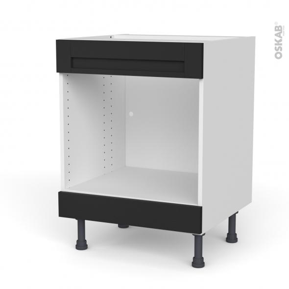 Meuble de cuisine - Bas MO encastrable niche 45 - Faux tiroir haut - AVARA Frêne Noir - L60 x H70 x P58 cm