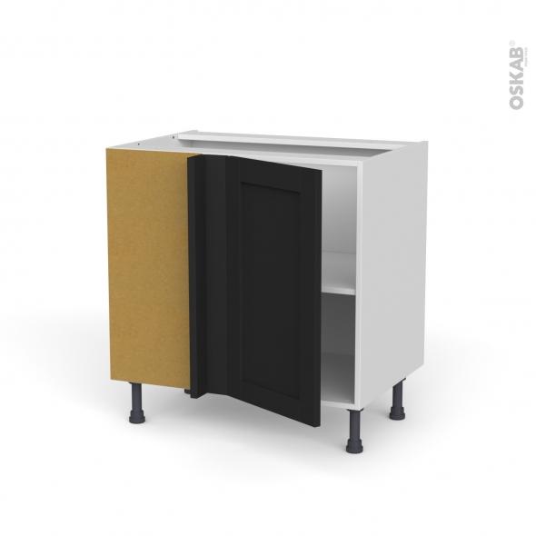 Meuble de cuisine - Angle sous évier réversible - AVARA Frêne Noir - 1 porte N°19 L40 cm - L80 x H70 x P58 cm