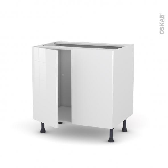 Meuble de cuisine - Sous évier - BORA Blanc - 2 portes - L80 x H70 x P58 cm