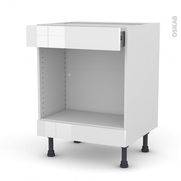 Meuble de cuisine - Bas MO encastrable niche 45 - BORA Blanc - 1 tiroir haut - L60 x H70 x P58 cm