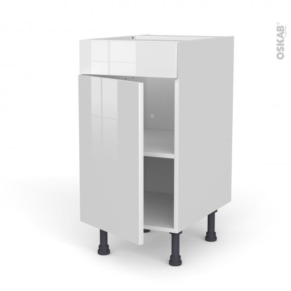 Meuble de cuisine - Bas - Faux tiroir haut - BORA Blanc - 1 porte  - L40 x H70 x P58 cm