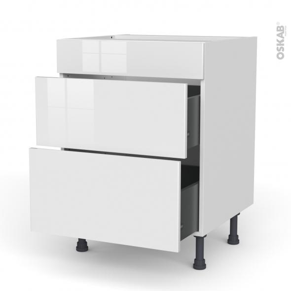 Meuble de cuisine - Casserolier - Faux tiroir haut - BORA Blanc - 2 tiroirs - L60 x H70 x P58 cm