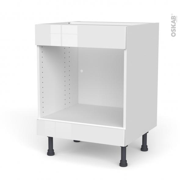 Meuble de cuisine - Bas MO encastrable niche 45 - Faux tiroir haut - BORA Blanc - L60 x H70 x P58 cm