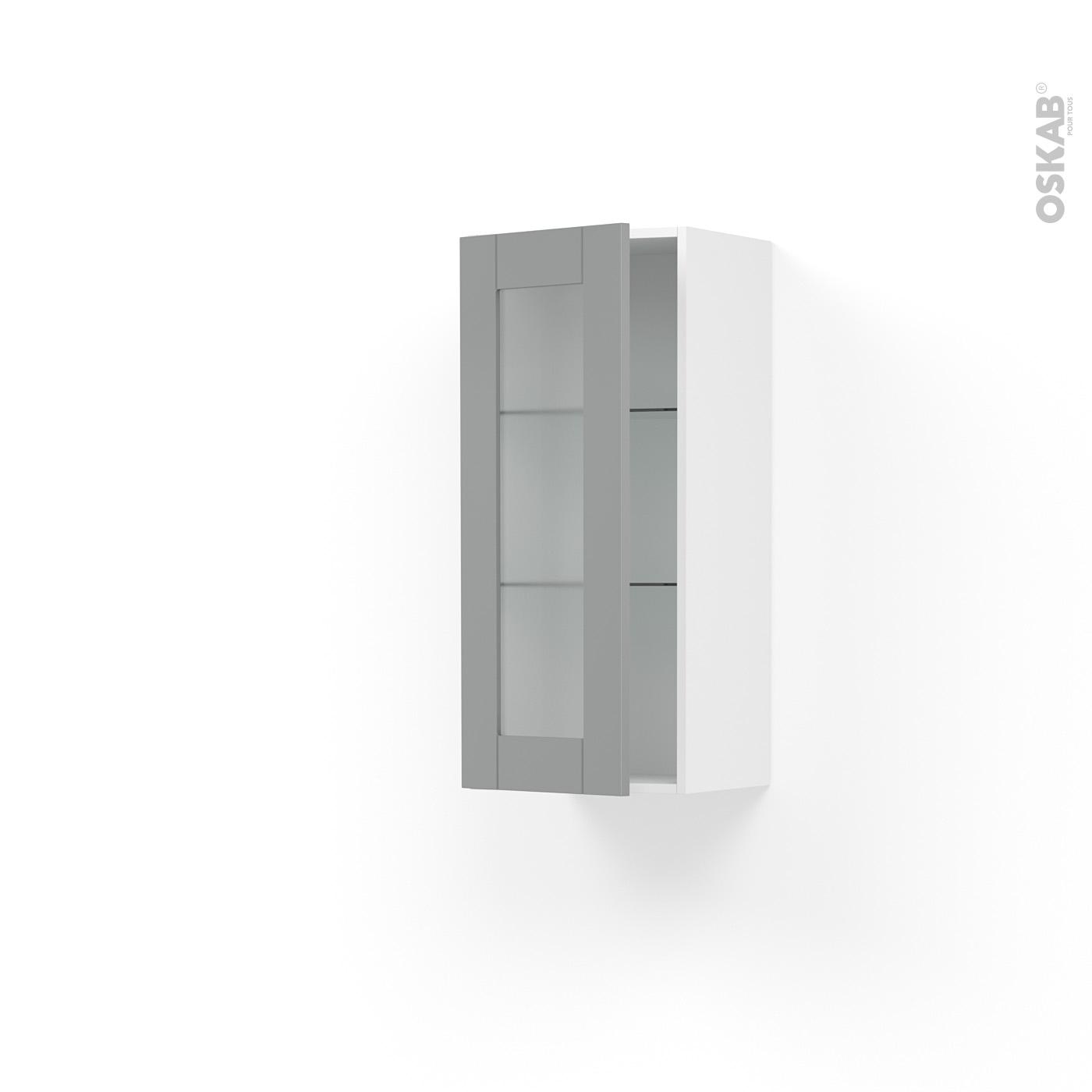 Meuble de cuisine Haut ouvrant vitré FILIPEN Gris, 1 porte, L40 x H92 x P37  cm