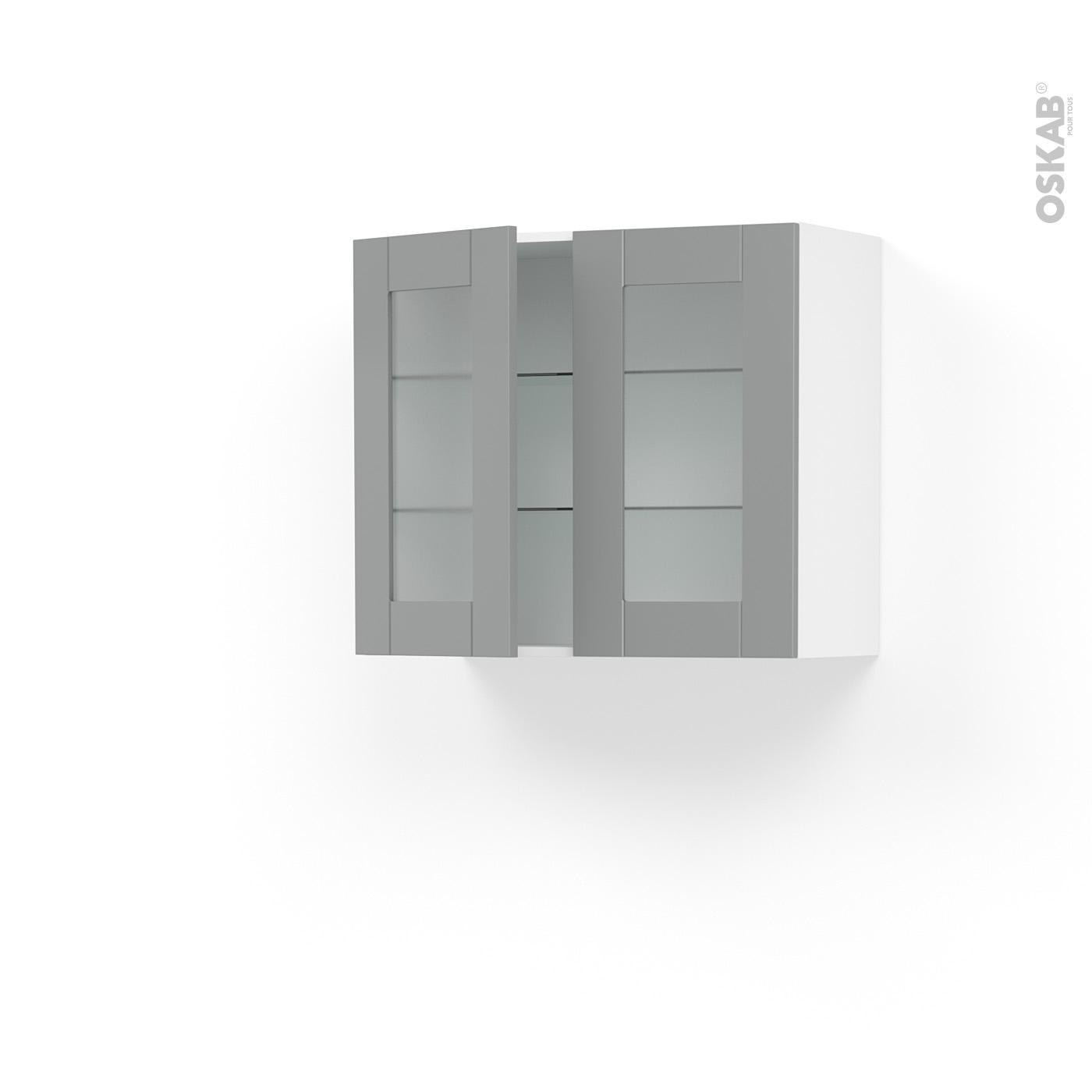 Meuble Cuisine Ikea Vide Sanitaire meuble de cuisine haut ouvrant vitré filipen gris, 2 portes, l80 x h70 x  p37 cm