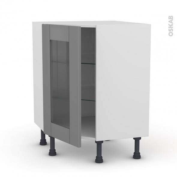 Meuble de cuisine - Angle bas vitré - FILIPEN Gris - 1 porte N°83 L40 cm - L65 x H70 x P37cm
