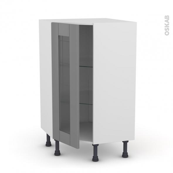 Meuble de cuisine - Angle bas vitré - FILIPEN Gris - 1 porte N°84 L40 cm - L65 x H92 x P37cm