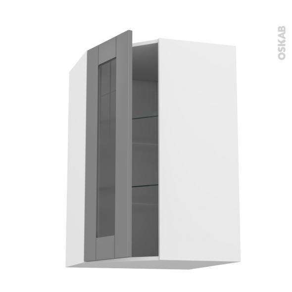 Meuble de cuisine - Angle haut vitré - FILIPEN Gris - 1 porte N°84 L40 cm - L65 x H92 x P37 cm