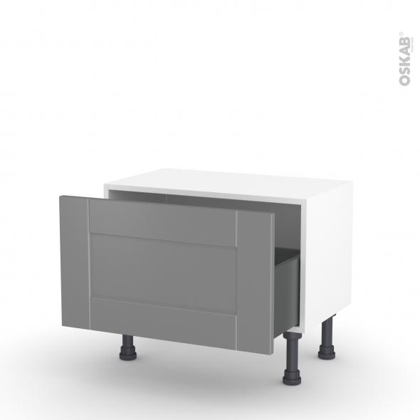 Meuble de cuisine - Bas - FILIPEN Gris - 1 casserolier - L60 x H35 x P37 cm