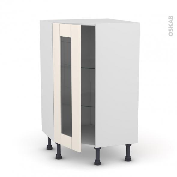 Meuble de cuisine - Angle bas vitré - FILIPEN Ivoire - 1 porte N°84 L40 cm - L65 x H92 x P37cm