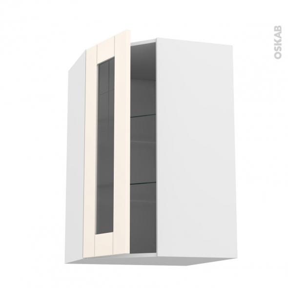 Meuble de cuisine - Angle haut vitré - FILIPEN Ivoire - 1 porte N°84 L40 cm - L65 x H92 x P37 cm