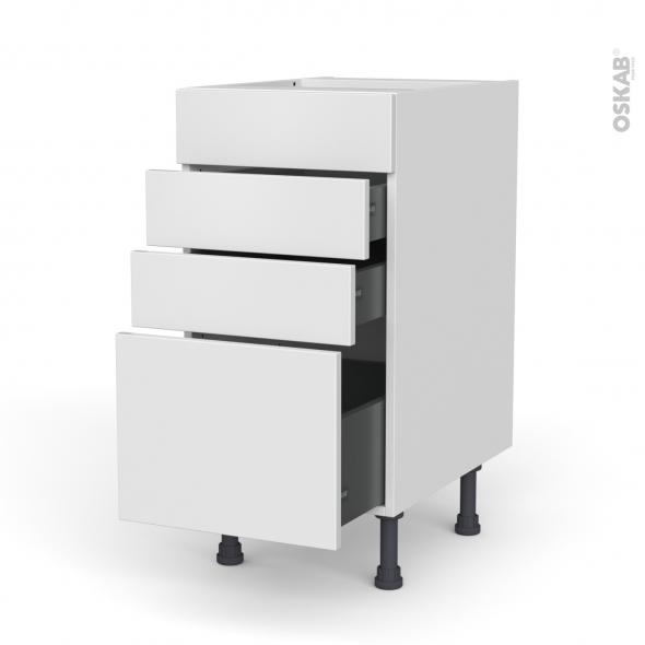 Meuble de cuisine - Casserolier - Faux tiroir haut - GINKO Blanc - 3 tiroirs - L40 x H70 x P58 cm