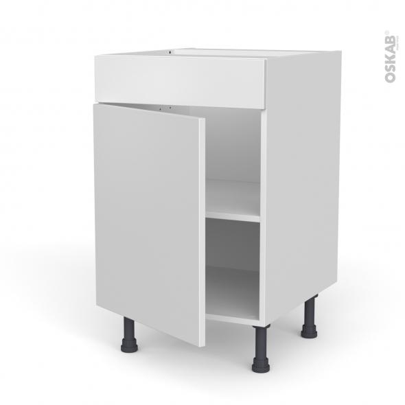Meuble de cuisine - Bas - Faux tiroir haut - GINKO Blanc - 1 porte  - L40 x H70 x P58 cm