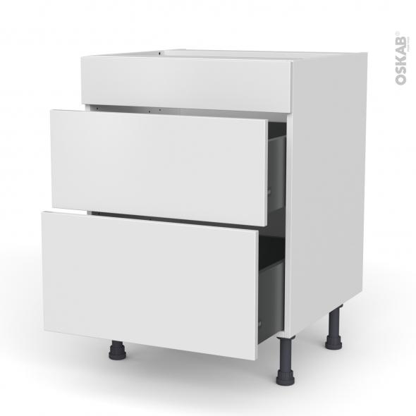 Meuble de cuisine - Casserolier - Faux tiroir haut - GINKO Blanc - 2 tiroirs - L60 x H70 x P58 cm