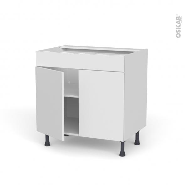 Meuble de cuisine - Bas - Faux tiroir haut - GINKO Blanc - 2 portes - L80 x H70 x P58 cm