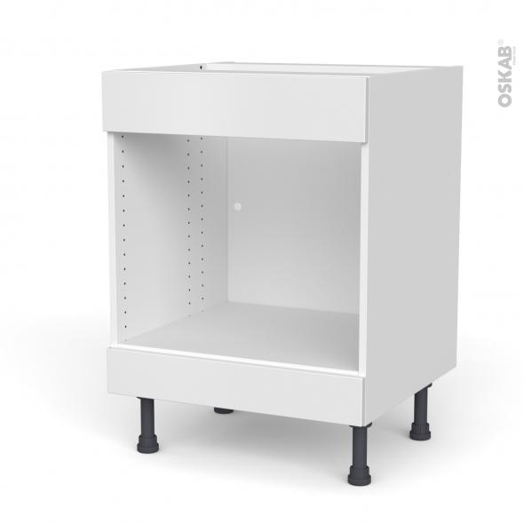 Meuble de cuisine - Bas MO encastrable niche 45 - Faux tiroir haut - GINKO Blanc - L60 x H70 x P58 cm