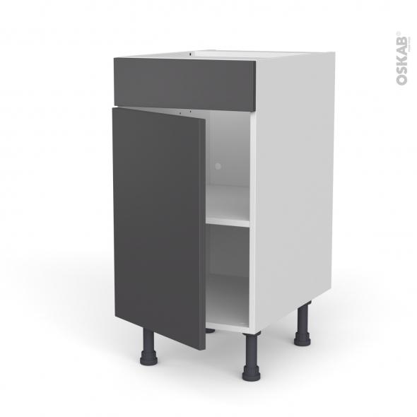 Meuble de cuisine - Bas - Faux tiroir haut - GINKO Gris - 1 porte  - L40 x H70 x P58 cm
