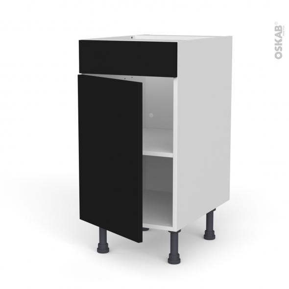 Meuble de cuisine - Bas - Faux tiroir haut - GINKO Noir - 1 porte  - L40 x H70 x P58 cm