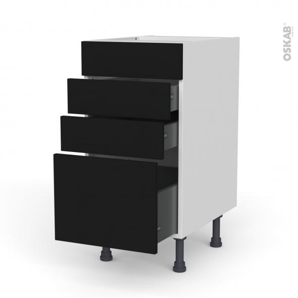 Meuble de cuisine - Casserolier - Faux tiroir haut - GINKO Noir - 3 tiroirs - L40 x H70 x P58 cm
