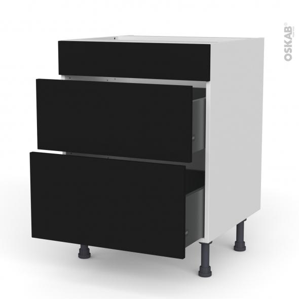 Meuble de cuisine - Casserolier - Faux tiroir haut - GINKO Noir - 2 tiroirs - L60 x H70 x P58 cm